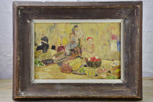"SOLD - MA Early 20th Century painting of a fruit and vegetable open air market 18½"" x 14¼"""