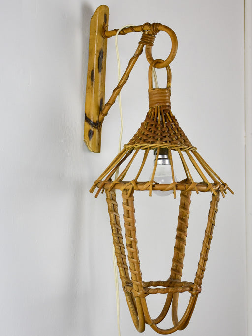 Vintage French cane wicker wall lantern 20½""