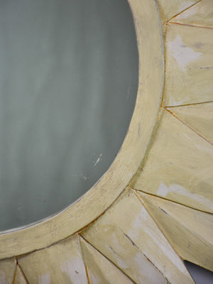 Mid century French sunburst mirror with painted frame 30¾""