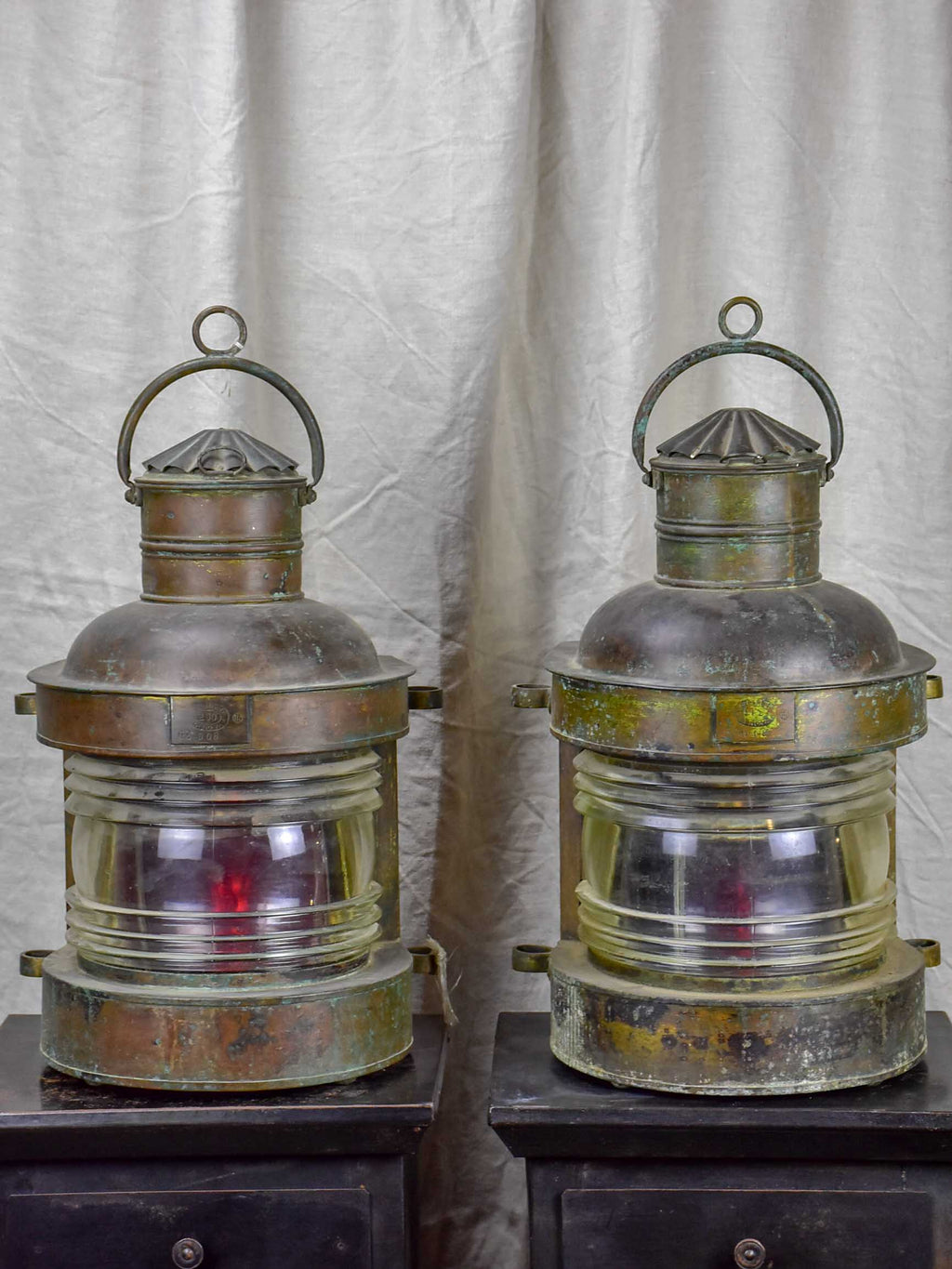 Pair of antique boat lanterns - 1908 Genova
