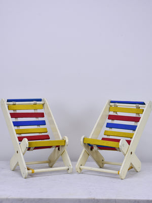 Miniature French vintage deck chairs