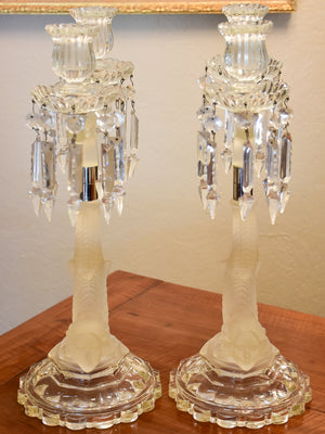 Pair of late 19th century crystal candlesticks attributed to Lalique