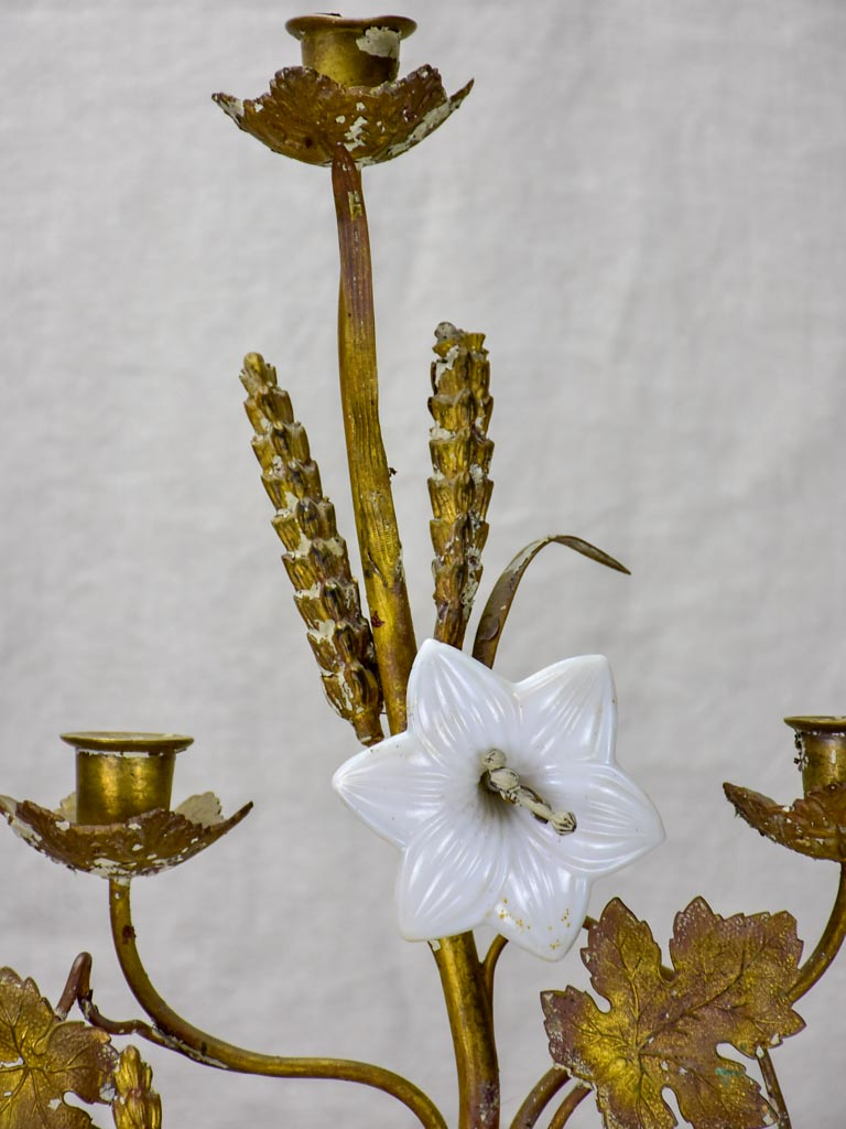 19th Century French church candelabra with flowers, foliage and wheat - bronze, brass and opaline glass 29¼""