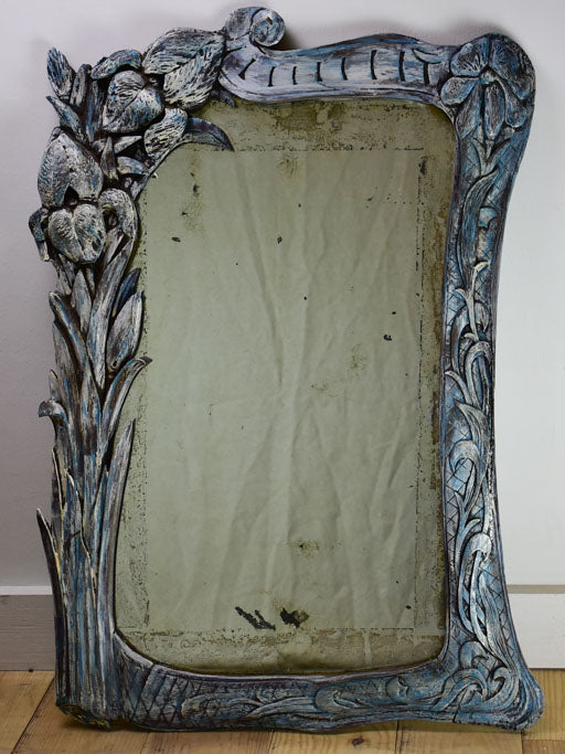 "Art Nouveau carved wood mirror late 19th / early 20th century 30"" x 22"""