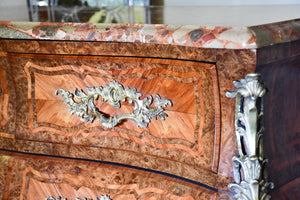 Antique Louis XV style commode with marquetry and marble top