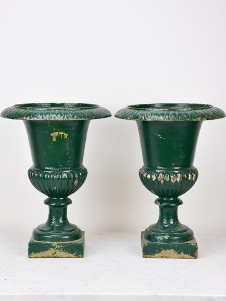 Pair of antique French Medici urns - green