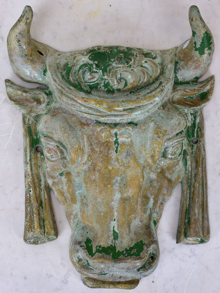 Antique French bull's head from a butcher shop
