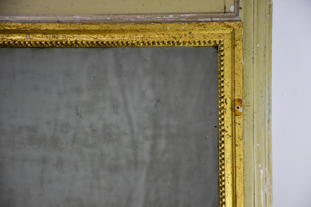 "Antique French trumeau mirror with sage and gilt frame 26¾"" x 27¼"""