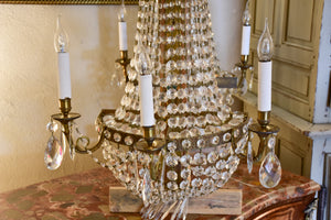 Pair of antique French crystal wall sconces - large