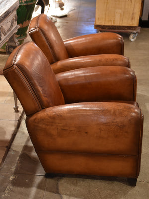 Pair of 1950's French armchairs with double plaquette detail