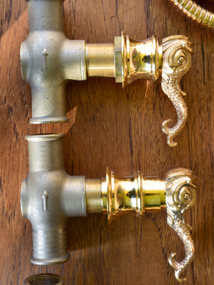 French vintage gilded bronze faucet set for bath