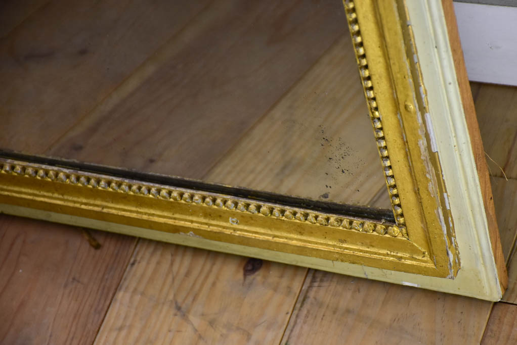 "Antique French rectangular mirror with sage and gilt frame 26¾"" x 28¾"""