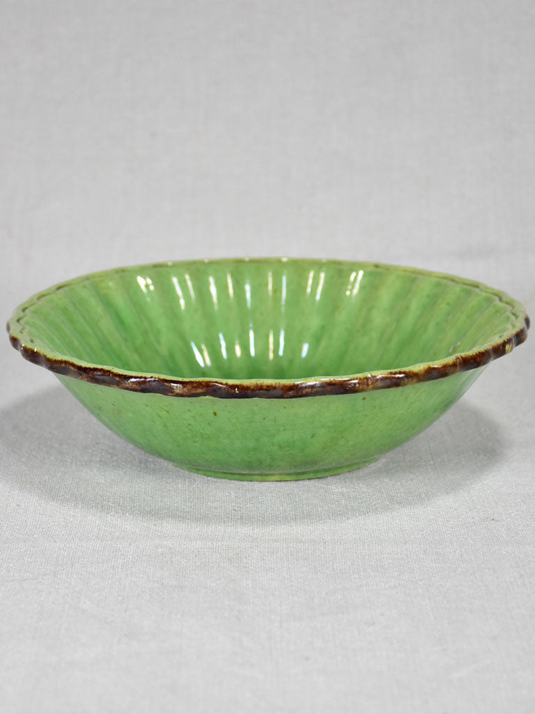 Antique French bowl from Dieulefit with green glaze 9""