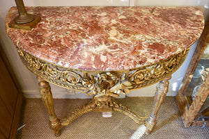 Antique Louis XVI console table with marble top