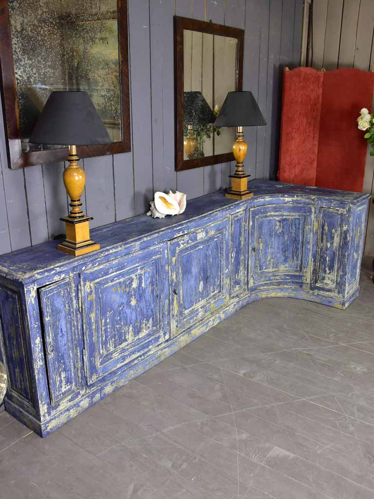 Late 18th Century blue L shaped corner cupboard / counter