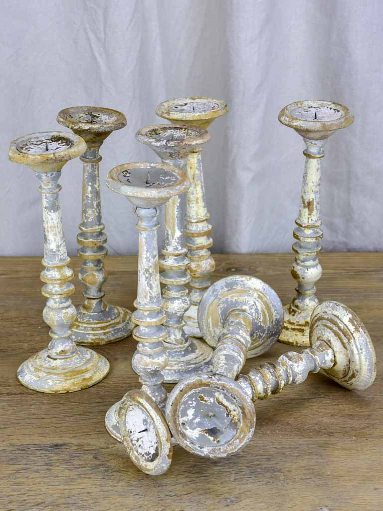 Collection of six rustic vintage candlesticks