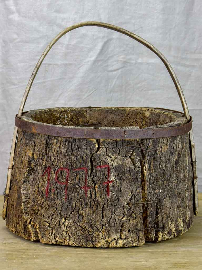 Primitive agricultural harvest basket made from cork (for collecting mushrooms, eggs) 17¾""