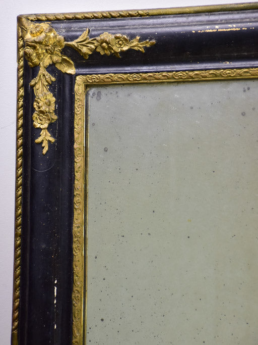 "Large antique French mirror with black and gold frame 31"" x  39½"""