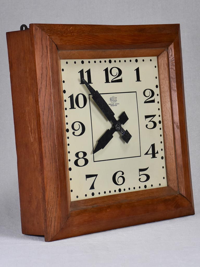Antique French square clock with wooden frame 15¼""