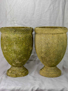 Pair of vintage Italian garden urns - signed, cement 18""