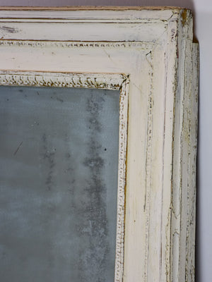 "Very large antique French bistro mirror with white frame 46"" x 58¼"""