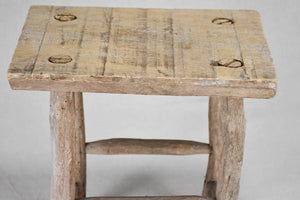 Small rustic wooden stool - rectangular 12½""