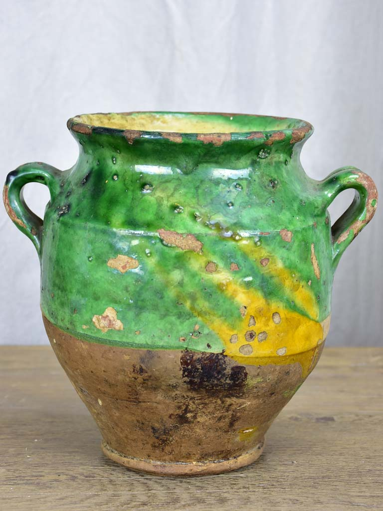 Antique French confit pot with green glaze 10¾""