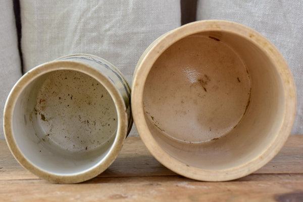 Antique French stoneware pots - flour and coffee
