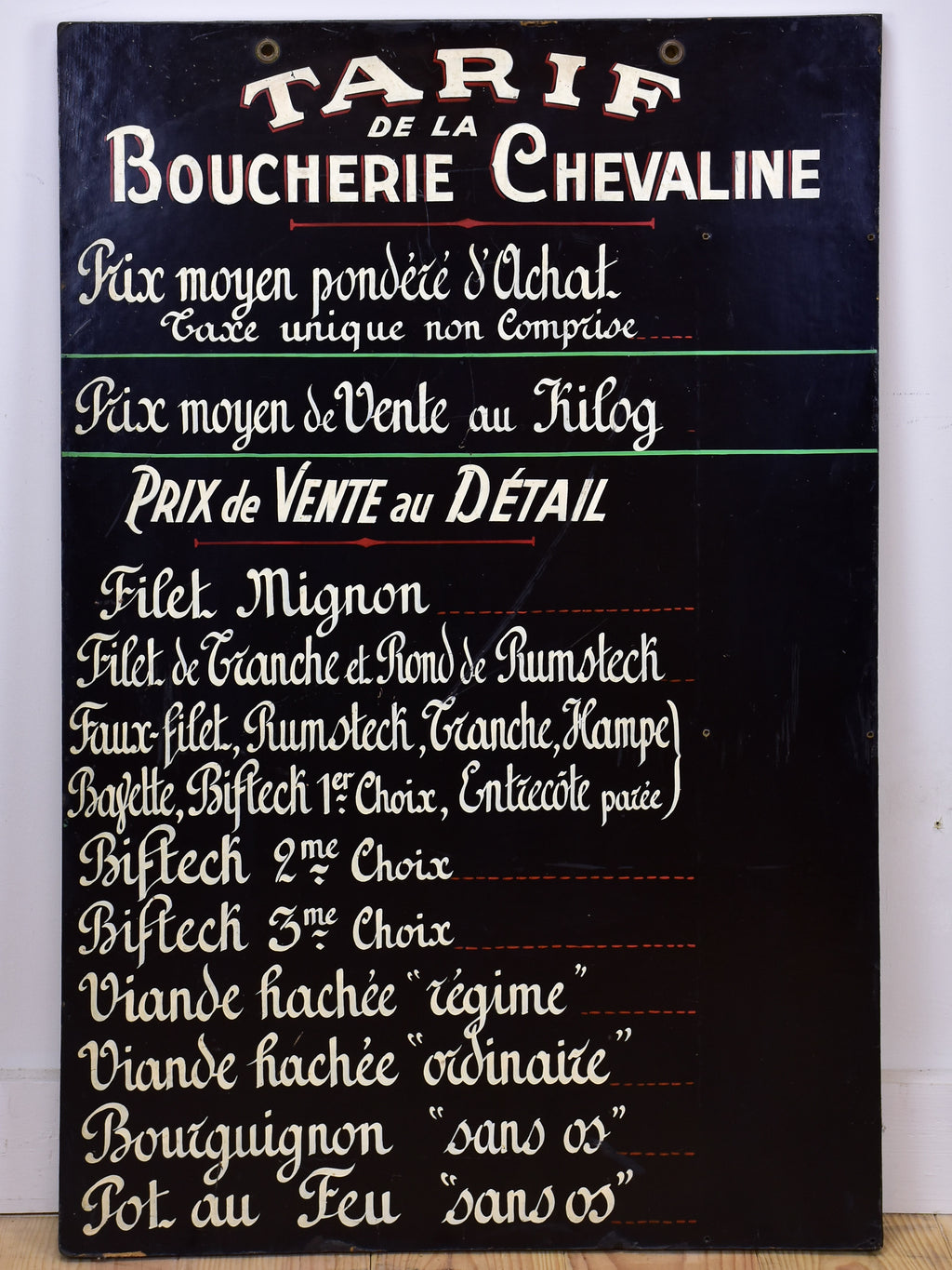 French sign from a butcher's shop