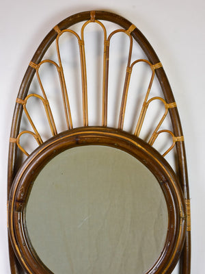 "Large vintage French mirror - oval with woven cane frame 43"" x 19¾"""