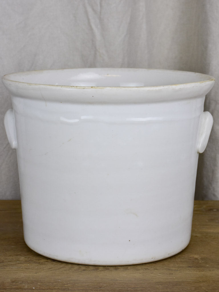 Large French preserving pot with handles - white 11¾""