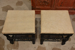 Pair of Louis XIII style stools with black patina