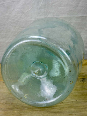 Very large antique French preserving jar - blue / clear 17¾""