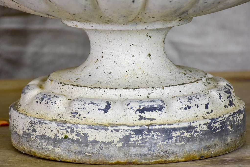 Pair of 19th Century French cast iron garden urns with white patina 13½""