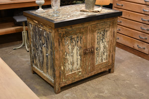 Antique rustic French kitchen island with zinc border & two cupboards