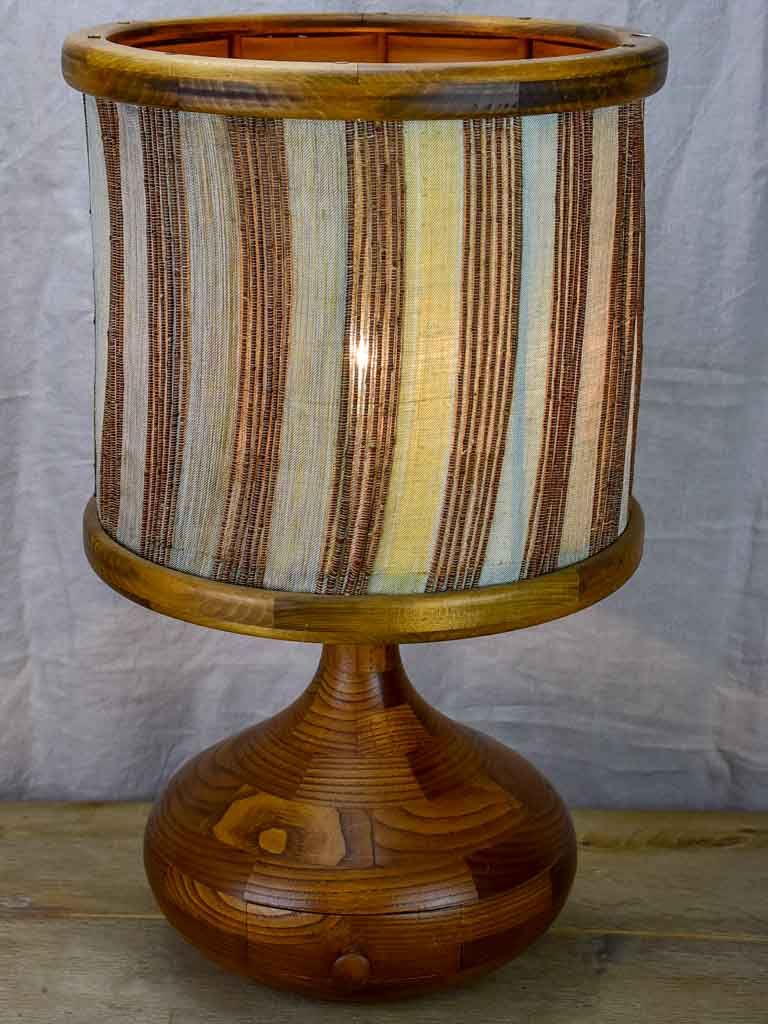 Vintage Scandinavian lamp with teak base and fabric lampshade 24¾""