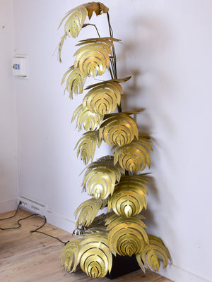 Large mid-century floor lamp with gold leaves, Maison Jansen