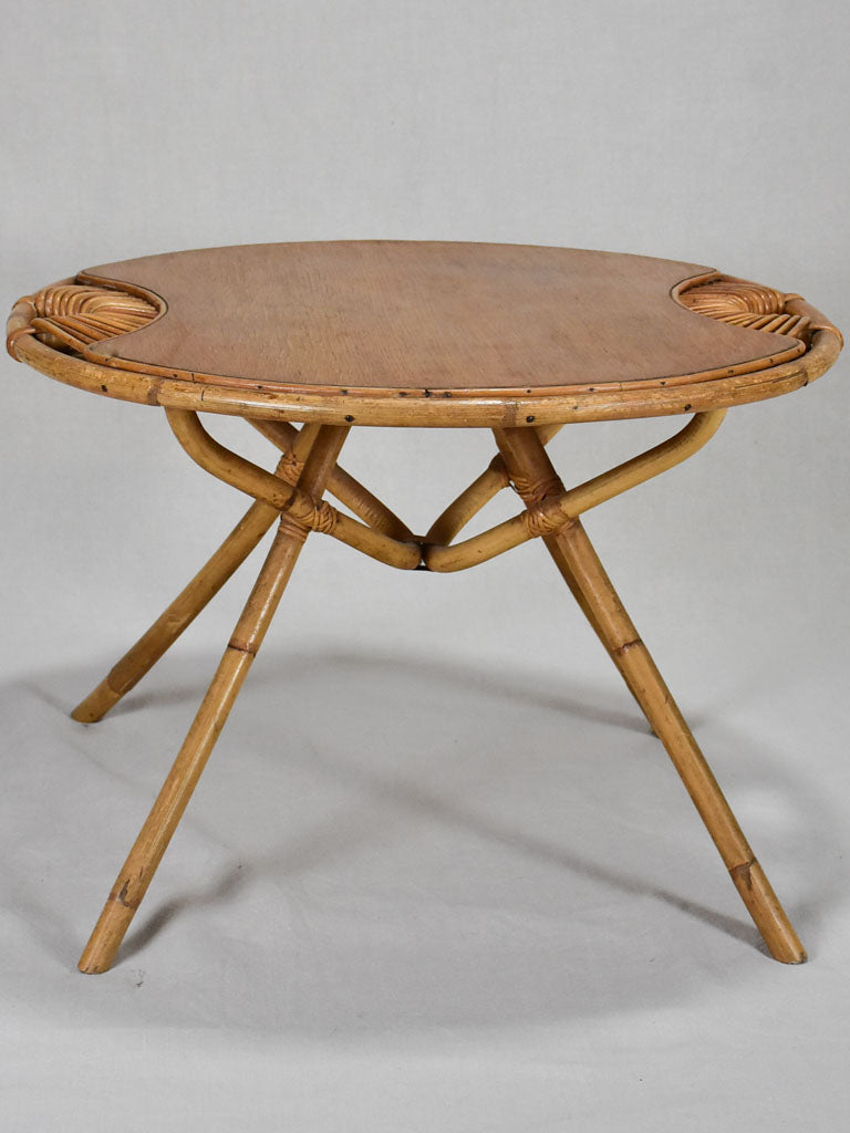 Janine Abraham 1960's coffee table with wicker detail and bamboo legs 26¾""