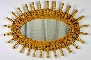 Vintage oval sunburst mirror - rattan and bamboo, 1970's 23¾ x 16¼""""