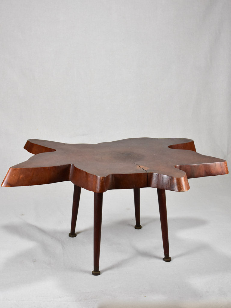 1950's Brutalist coffee table - large tree trunk table top 38¼""