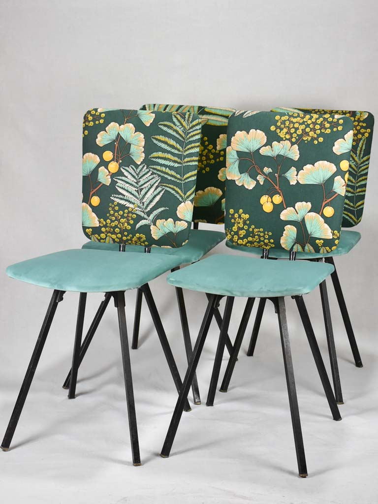 Four 1950's  chairs with turquoise velvet and floral upholstery
