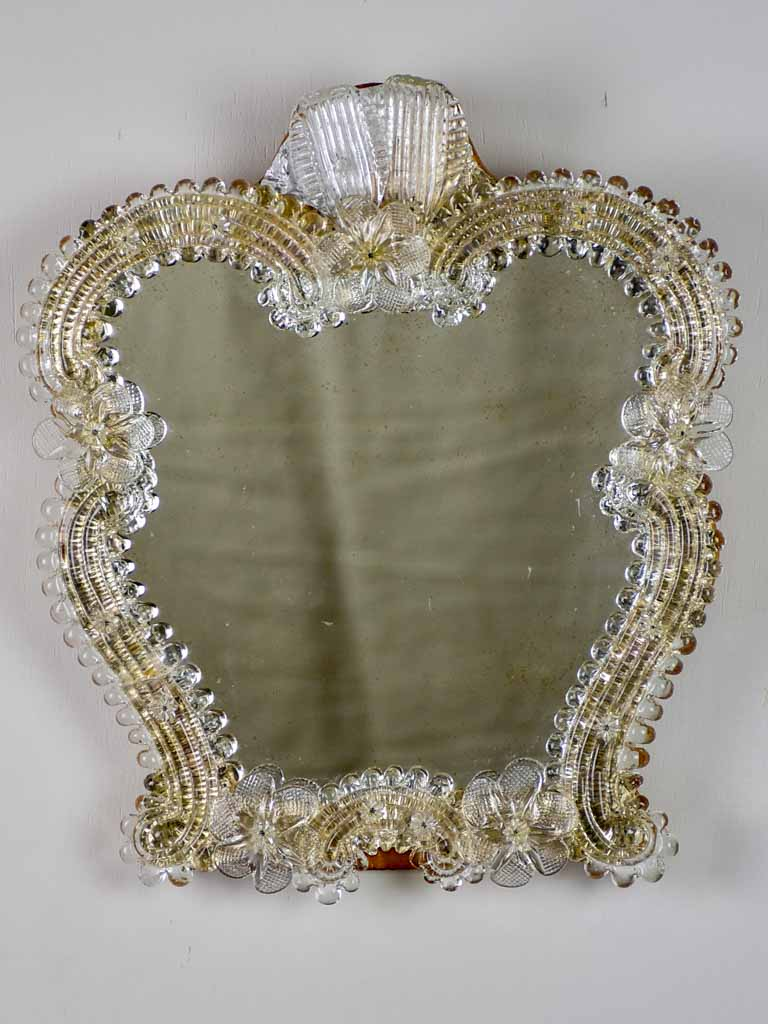 Small vintage Venetian style mirror with flowers