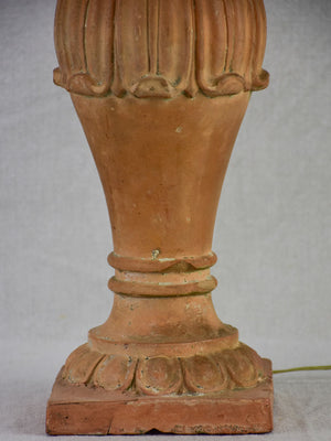 Antique French terracotta lamp - balustrade 19""