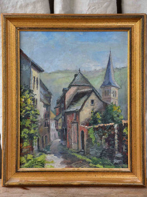 Vintage French painting of a village street 16 ½'' x 19 ¾''