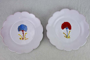 Two handpainted plates with pretty scalloped edges 9½""