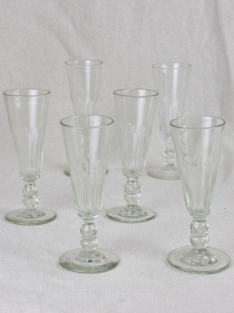 Six 19th Century champagne flutes