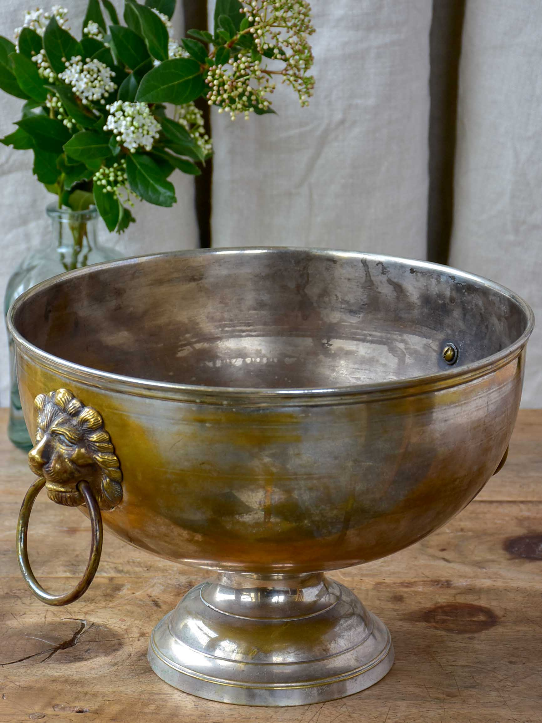 Antique French ice-bucket with lion's head handles