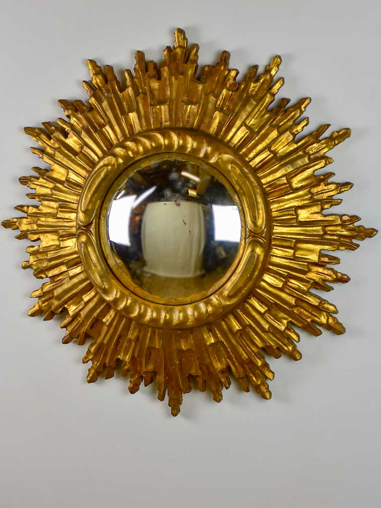Mid century sunburst mirror with gold frame and convex mirror 23¾""