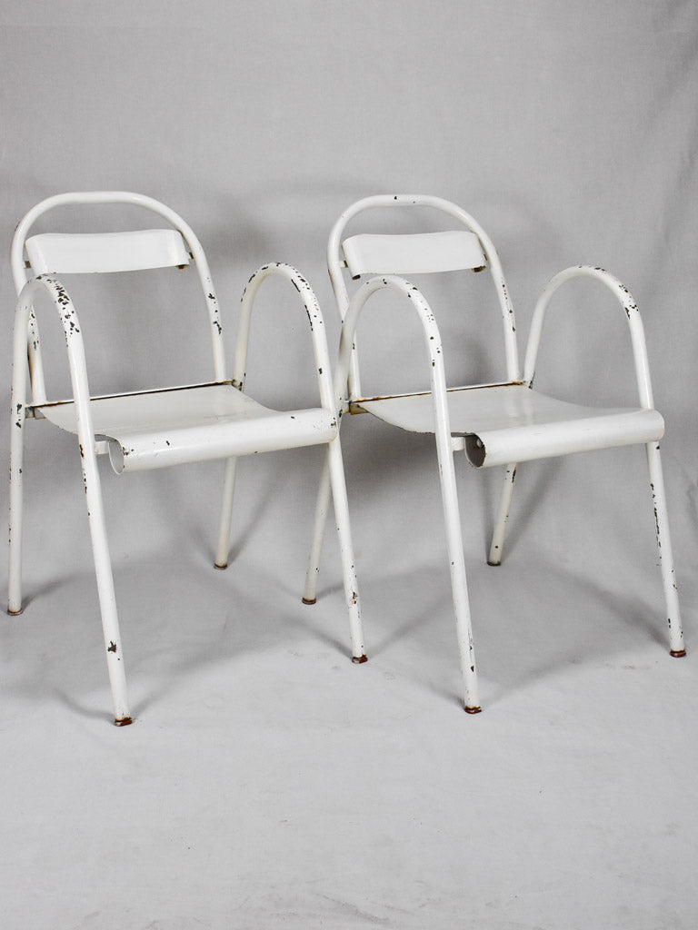 Four 1940's metal garden chairs with white patina - attributed to Flexitube