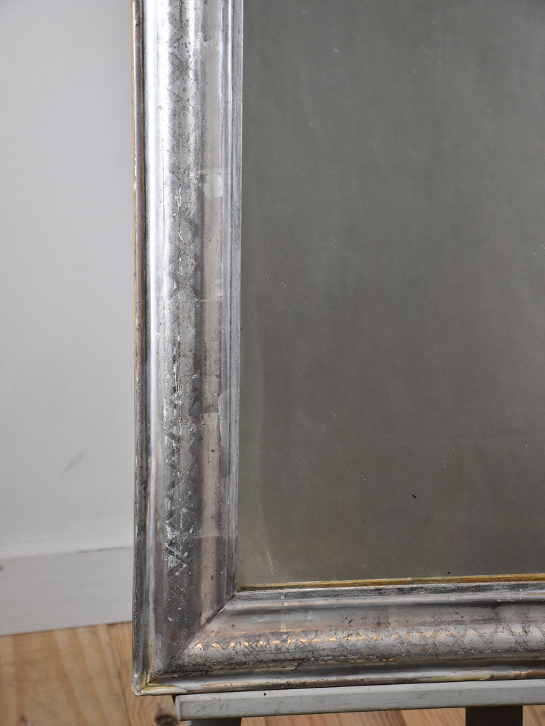 "Antique French Louis Philippe mirror with silver -leaf frame 23¼"" x 31½"""